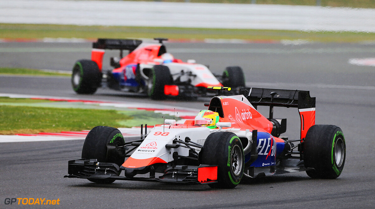 Formula One World Championship Roberto Merhi (ESP) Manor Marussia F1 Team leads team mate Will Stevens (GBR) Manor Marussia F1 Team.