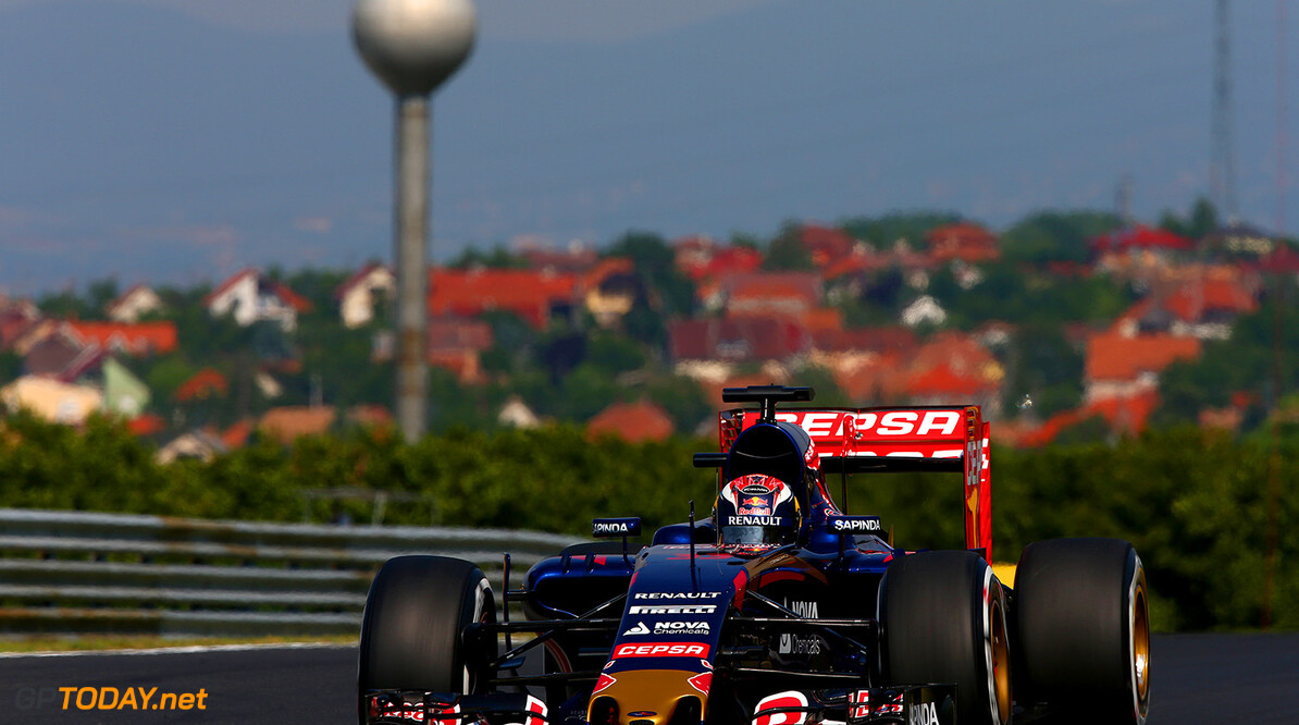 BUDAPEST, HUNGARY - JULY 24:  Max Verstappen of Netherlands and Scuderia Toro Rosso drives during practice for the Formula One Grand Prix of Hungary at Hungaroring on July 24, 2015 in Budapest, Hungary.  (Photo by Clive Mason/Getty Images) // Getty Images/Red Bull Content Pool // P-20150724-00146 // Usage for editorial use only // Please go to www.redbullcontentpool.com for further information. //  F1 Grand Prix of Hungary - Practice Clive Mason Budapest Hungary  P-20150724-00146