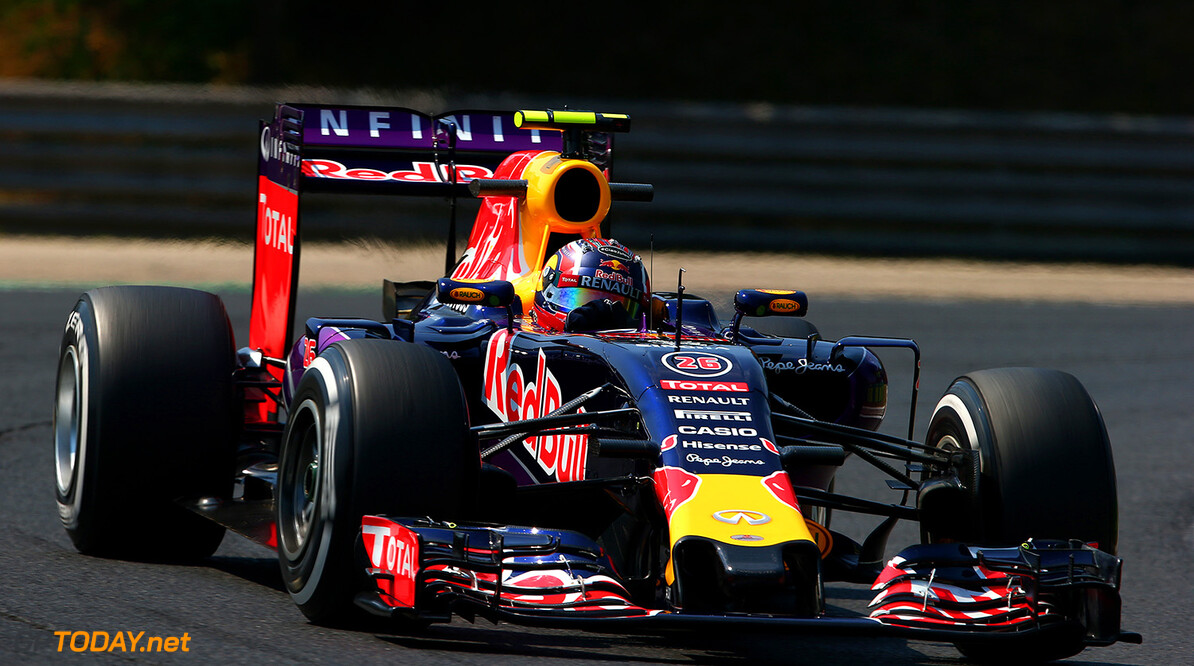 BUDAPEST, HUNGARY - JULY 24:  Daniil Kvyat of Russia and Infiniti Red Bull Racing drives during practice for the Formula One Grand Prix of Hungary at Hungaroring on July 24, 2015 in Budapest, Hungary.  (Photo by Mark Thompson/Getty Images) // Getty Images/Red Bull Content Pool // P-20150724-00257 // Usage for editorial use only // Please go to www.redbullcontentpool.com for further information. //  F1 Grand Prix of Hungary - Practice Mark Thompson Budapest Hungary  P-20150724-00257