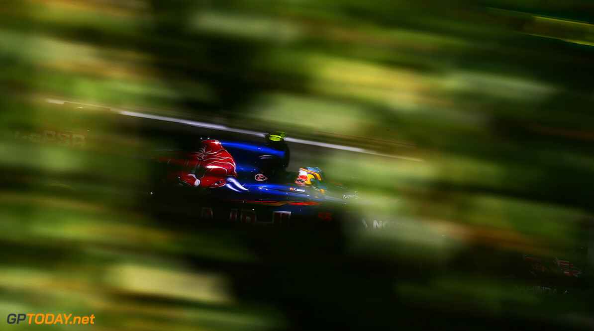 BUDAPEST, HUNGARY - JULY 24:  Carlos Sainz of Spain and Scuderia Toro Rosso drives during practice for the Formula One Grand Prix of Hungary at Hungaroring on July 24, 2015 in Budapest, Hungary.  (Photo by Clive Mason/Getty Images) // Getty Images/Red Bull Content Pool // P-20150724-00436 // Usage for editorial use only // Please go to www.redbullcontentpool.com for further information. //  F1 Grand Prix of Hungary - Practice Clive Mason Budapest Hungary  P-20150724-00436