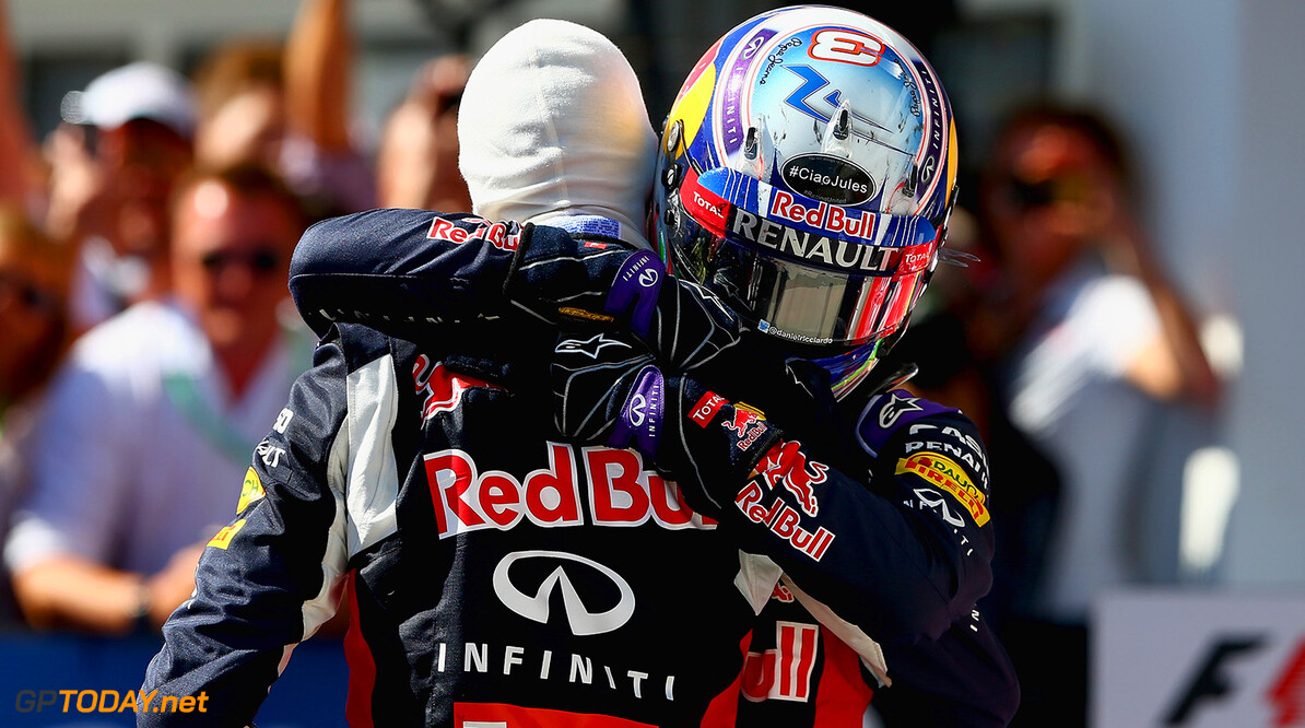 BUDAPEST, HUNGARY - JULY 26:  Daniel Ricciardo of Australia and Infiniti Red Bull Racing and Daniil Kvyat of Russia and Infiniti Red Bull Racing celebrate in Parc Ferme after finsihing third and second during the Formula One Grand Prix of Hungary at Hungaroring on July 26, 2015 in Budapest, Hungary.  (Photo by Clive Mason/Getty Images) // Getty Images/Red Bull Content Pool // P-20150726-00310 // Usage for editorial use only // Please go to www.redbullcontentpool.com for further information. //  F1 Grand Prix of Hungary Clive Mason Budapest Hungary  P-20150726-00310