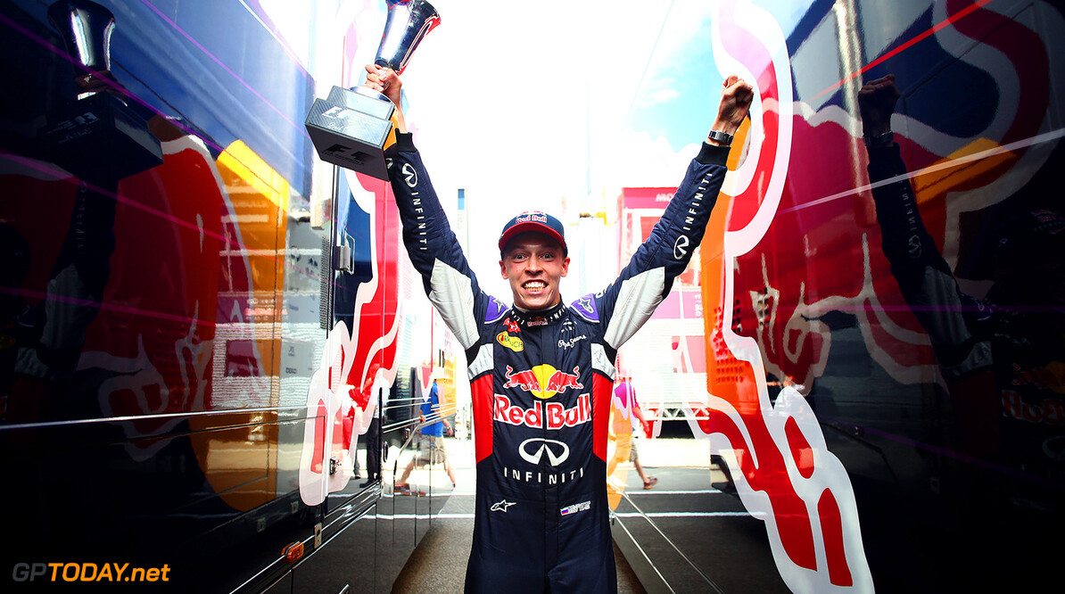 BUDAPEST, HUNGARY - JULY 26:  Daniil Kvyat of Russia and Infiniti Red Bull Racing celebrates after finishing second in the Formula One Grand Prix of Hungary at Hungaroring on July 26, 2015 in Budapest, Hungary.  (Photo by Mark Thompson/Getty Images) // Getty Images/Red Bull Content Pool // P-20150726-00390 // Usage for editorial use only // Please go to www.redbullcontentpool.com for further information. //  F1 Grand Prix of Hungary Mark Thompson Budapest Hungary  P-20150726-00390