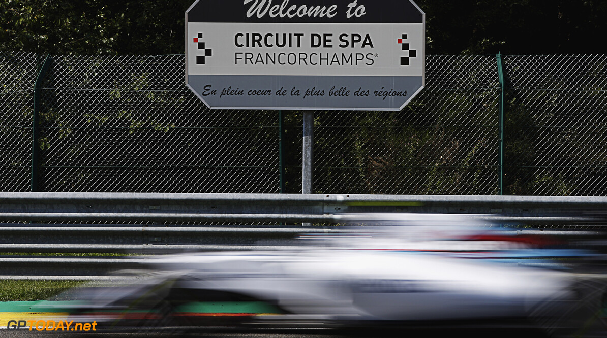 Spa-Francorchamps, Spa, Belgium. Friday 21 August 2015. Valtteri Bottas, Williams FW37 Mercedes, passes a sign welcoming visitors to the circuit. Photo: Glenn Dunbar/Williams ref: Digital Image WW2Q5423      Action