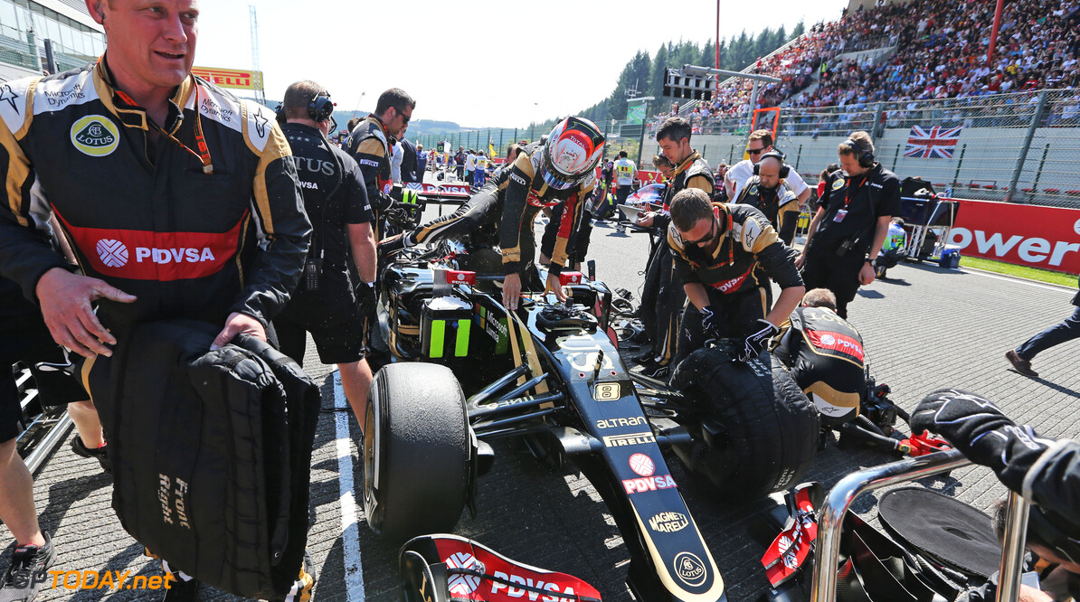Formula One World Championship Romain Grosjean (FRA) Lotus F1 E23 on the grid.