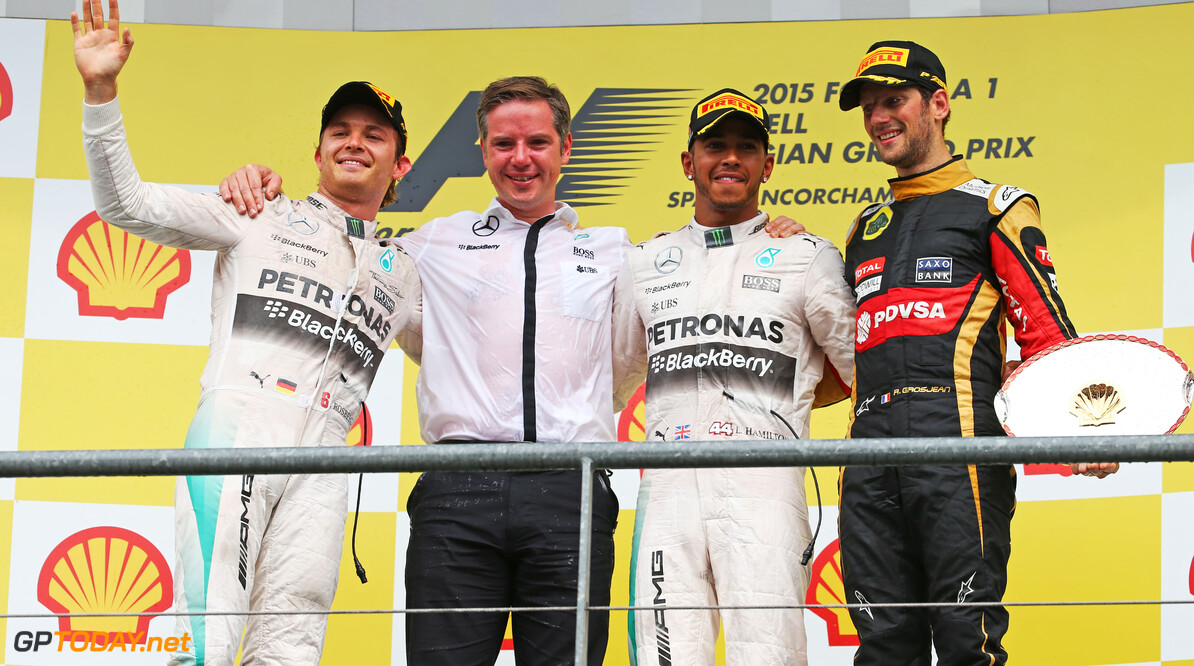 Formula One World Championship The podium (L to R): Romain Grosjean (FRA) Lotus F1 Team, second; Lewis Hamilton (GBR) Mercedes AMG F1, race winner; Romain Grosjean (FRA) Lotus F1 Team, third.  Belgian Grand Prix, Sunday 23rd August 2015. Spa-Francorchamps, Belgium. Motor Racing - Formula One World Championship - Belgian Grand Prix - Race Day - Spa Francorchamps, Belgium Lotus F1 Team Spa Francorchamps Belgium  Formula One Formula 1 F1 GP Grand Prix Circuit Belgium Belgian Spa-Francorchamps Spa Francorchamps Spa JM475 Winner  Victor Victory First Position First Place Portrait moyf12015 GP1512d