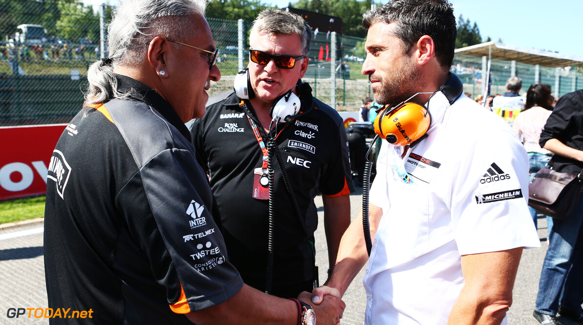 Formula One World Championship (L to R): Dr. Vijay Mallya (IND) Sahara Force India F1 Team Owner with Otmar Szafnauer (USA) Sahara Force India F1 Chief Operating Officer and Patrick Dempsey (USA) Actor on the grid.  Belgian Grand Prix, Sunday 23rd August 2015. Spa-Francorchamps, Belgium. Motor Racing - Formula One World Championship - Belgian Grand Prix - Race Day - Spa Francorchamps, Belgium James Moy Photography Spa Francorchamps Belgium  Formula One Formula 1 F1 GP Grand Prix Circuit Belgium Belgian Spa-Francorchamps Spa Francorchamps Spa Francorchamps JM475 Portrait gp1512d