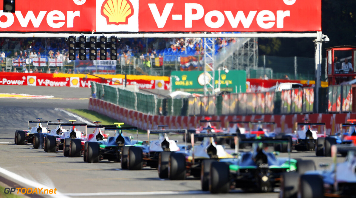 2015 GP3 Series Round 5.  Spa-Francorchamps, Spa, Belgium. Sunday 23 August 2015. The start of the race Photo: Sam Bloxham/GP3 Media Service ref: Digital Image _SBL8700  Sam Bloxham    Race Two action