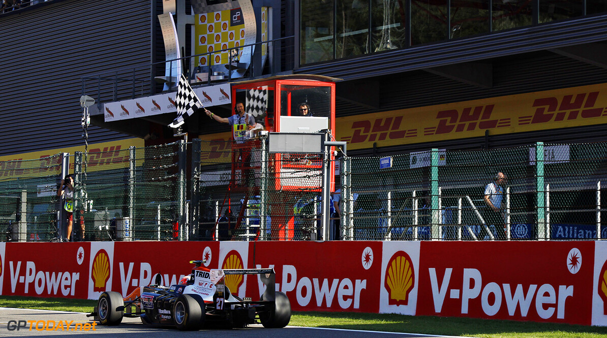 2015 GP3 Series Round 5.  Spa-Francorchamps, Spa, Belgium.  Sunday 23 August 2015. Luca Ghiotto (ITA, Trident) crosses the line to take the win. Photo: Sam Bloxham/GP3 Series Media Service ref: Digital Image _G7C7753      race action