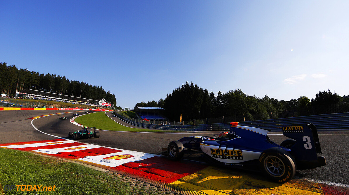 2015 GP3 Series Round 5. Spa-Francorchamps, Spa, Belgium. Saturday 22 August 2015. Mitchell Gilbert (AUS, Carlin) . Photo: Zak Mauger/GP3 Series Media Service. ref: Digital Image _L0U3190   Zak Mauger    Race One 1 race action
