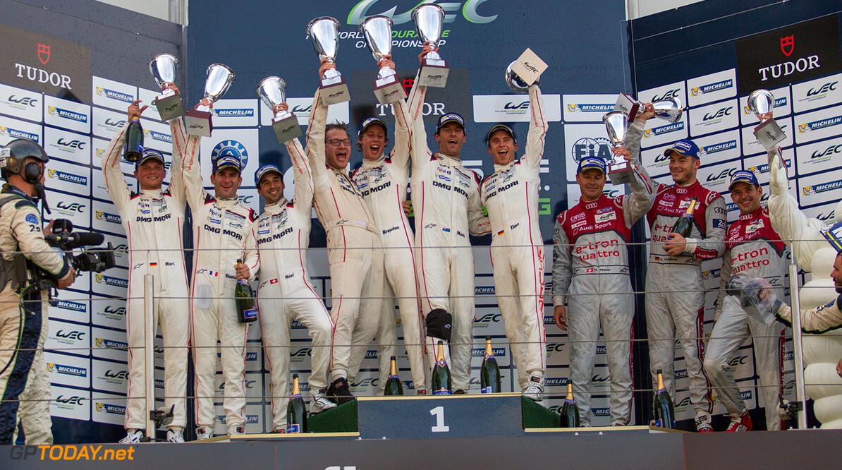 ND5_1807.jpg Car #17 / PORSCHE TEAM (DEU) / Porsche 919 Hybrid Hybrid  / Timo Bernhard (DEU) / Mark Webber (AUS) / Brendon Hartley (NZL), Car #18 / PORSCHE TEAM (DEU) / Porsche 919 Hybrid Hybrid / Romain Dumas (FRA) / Neel Jani (CHE) / Marc Lieb (DEU),Car #7 / AUDI SPORT TEAM JOEST (DEU) / Audi R18 e-tron quattro Hybrid / Marcel Fassler (CHE) / Andre Lotterer (DEU) / Benoit Treluyer (FRA) Podium - 6 Hours of Nurburgring at Nurburgring Circuit - Nurburg - Germany  Car #17 / PORSCHE TEAM (DEU) / Porsche 919 Hybrid Hybrid  / Timo Bernhard (DEU) / Mark Webber (AUS) / Brendon Hartley (NZL), Car #18 / PORSCHE TEAM (DEU) / Porsche 919 Hybrid Hybrid / Romain Dumas (FRA) / Neel Jani (CHE) / Marc Lieb (DEU),Car #7 / AUDI SP Nick Dungan Nurburg Germany  Adrenal Media 6 hours WEC ACO Nurburg Germany Nurburgring circuit motorsport