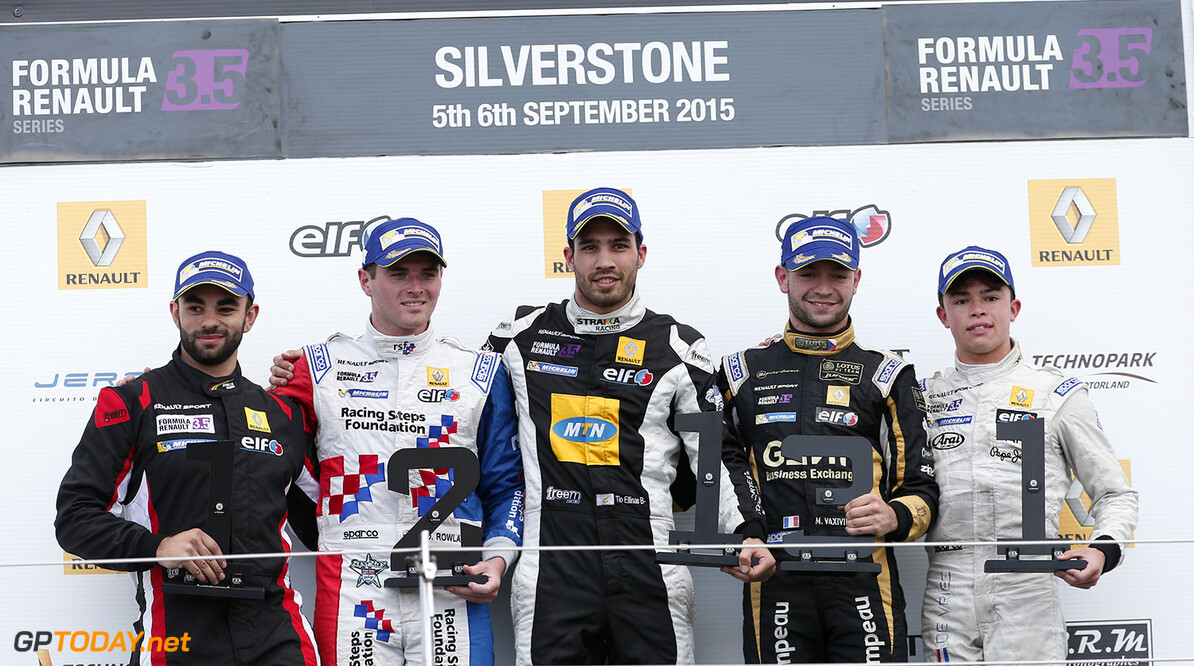 ELLINAS Tio (CYP) Strakka Racing (GBR) ambiance portrait, podium with ROWLAND Oliver and VAXIVIERE Matthieu during the 2015 World Series by Renault from September 3 to 5th  2015, at Silverstone, England. Photo Jean-Michel Le Meur / DPPI. AUTO - WSR SILVERSTONE 2015 Jean-Michel Le Meur Silverstone Angleterre  2.0 2015 Auto Car CHAMPIONNAT ESPAGNE Europe FORMULA RENAULT FORMULES FR FR 3.5 MONOPLACE Motorsport Race RENAULT SPORT series Sport UNIPLACE VOITURES WORLD WORLD SERIES BY RENAULT WSR ANGLETERRE