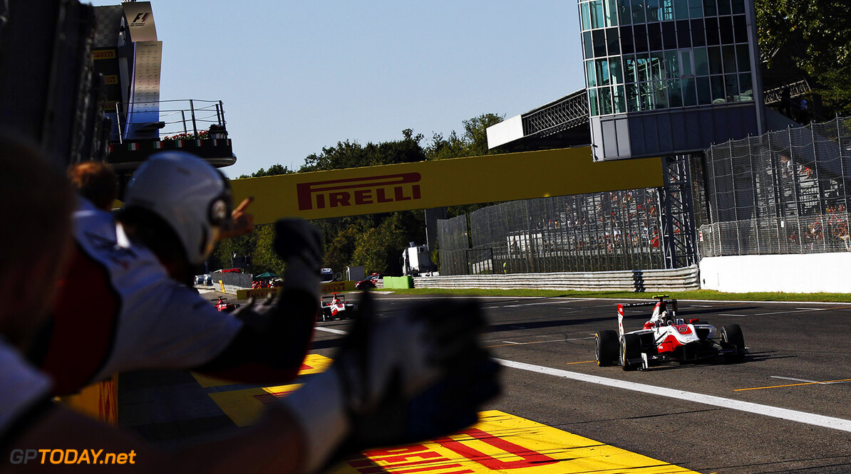 2015 GP3 Series Round 6. Autodromo Nazionale di Monza, Monza, Italy. Sunday 6 September 2015. Marvin Kirchhofer (GER, ART Grand Prix) takes the win as he drives past his team. Photo: Sam Bloxham/GP3 Series Media Service. ref: Digital Image _G7C1830      race action