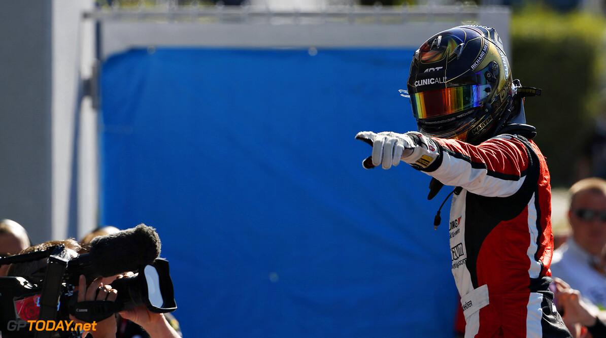 2015 GP3 Series Round 6. Autodromo Nazionale di Monza, Monza, Italy. Sunday 6 September 2015. Marvin Kirchhofer (GER, ART Grand Prix) celebrates his win in parc ferme. Photo: Sam Bloxham/GP3 Series Media Service. ref: Digital Image _SBL3707      race portrait