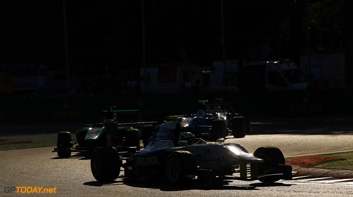 2015 GP3 Series Round 6. Autodromo di Monza, Italy. Saturday 5 September 2015. Jimmy Eriksson (SWE, Koiranen GP) leads Seb Morris (GBR, Status Grand Prix)  Photo: Sam Bloxham/GP3 Series Media Service. ref: Digital Image _SBL3167  Sam Bloxham    Race One 1 race action