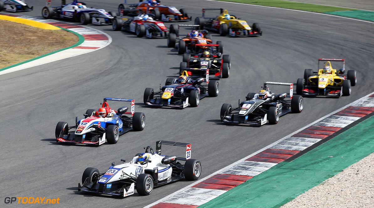 FIA Formula 3 European Championship, round 9, race 3, Portimao 23 Sergio Sette Camara (BRA, Motopark, Dallara F312 - Volkswagen), 12 Pietro Fittipaldi (BRA, Fortec Motorsports, Dallara F312 - Mercedes-Benz), 30 Callum Ilott (GBR, Carlin, Dallara F312 - Volkswagen), 7 Charles Leclerc (MCO, Van Amersfoort Racing, Dallara F312 - Volkswagen), 3 Antonio Giovinazzi (ITA, Jagonya Ayam with Carlin, Dallara F312 - Volkswagen), FIA Formula 3 European Championship, round 9, race 3, Portimao (POR) - 4. - 6. September 2015 FIA Formula 3 European Championship, round 9, race 3, Portimao (POR) Thomas Suer Portimao Portugal