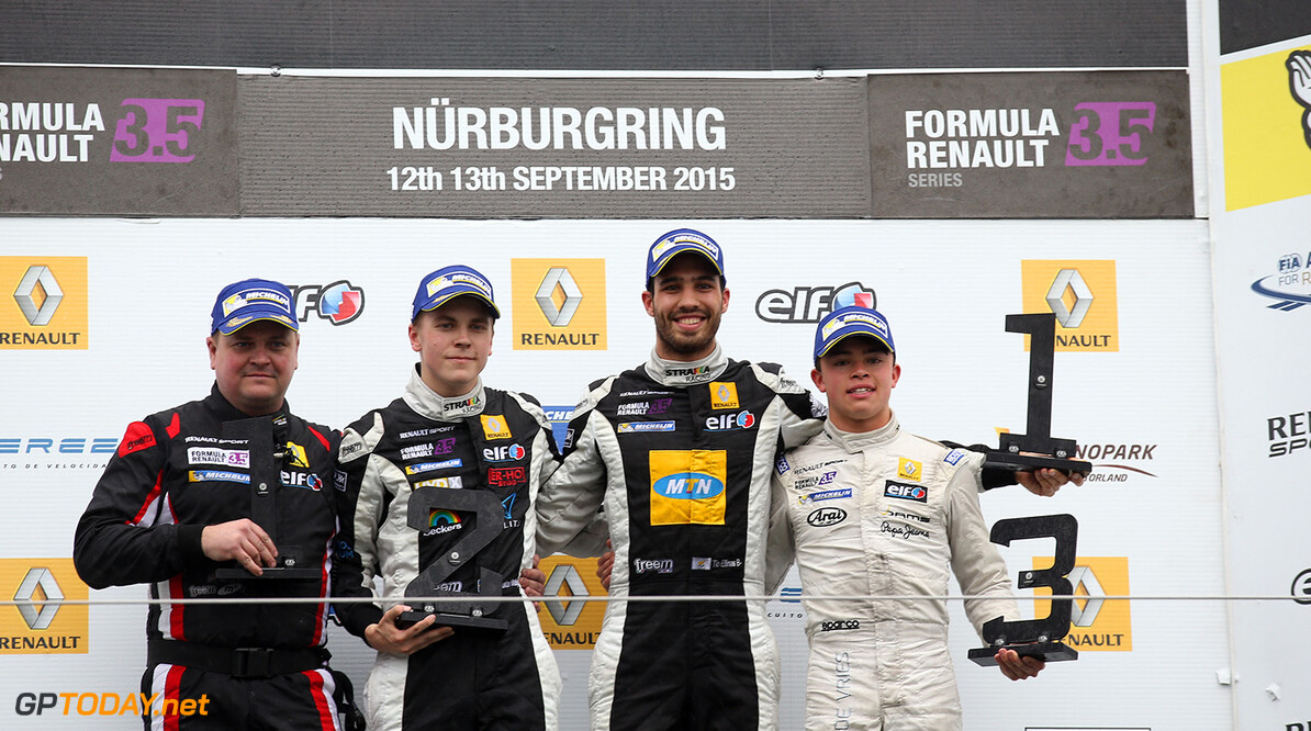 MALJA Gustav (SWE) Strakka Racing (GBR) ambiance portrait, ELLINAS Tio (CYP) Strakka Racing (GBR) ambiance portrait, DE_VRIES Nyck (NED) Dams (FRA) ambiance portrait during the 2015 World Series by Renault from September 10 to 13th  2015, at Nurburgring, Germany. Photo Gregory Lenormand / DPPI. AUTO - WSR NURBURGRING 2015 Gregory Lenormand Nurburgring Allemagne  2.0 2015 ALLEMAGNE AUTO CAR CHAMPIONNAT Europe FORMULA RENAULT FORMULES FR FR 3.5 MONOPLACE MOTORSPORT RENAULT SPORT Race Sport UNIPLACE VOITURES WORLD WORLD SERIES BY RENAULT WSR series