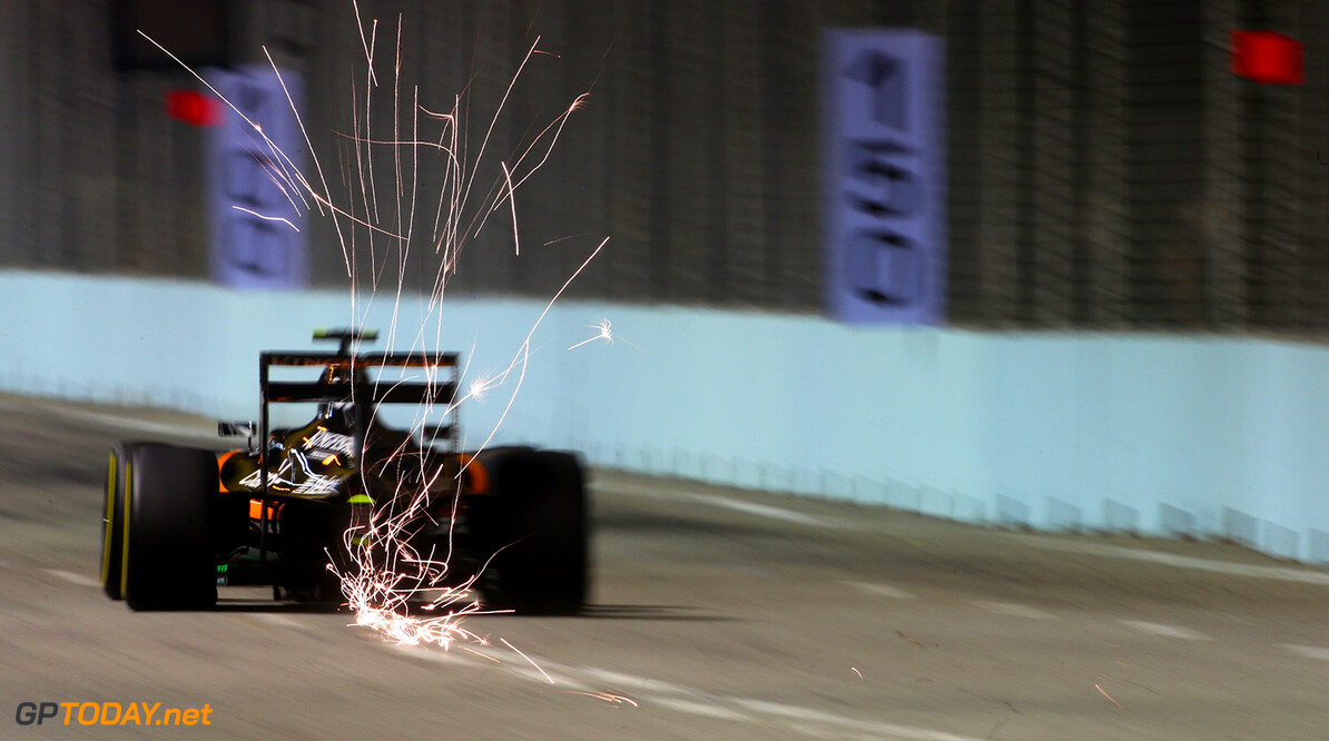Formula One World Championship Sergio Perez (MEX) Sahara Force India F1 VJM08 sends sparks flying.