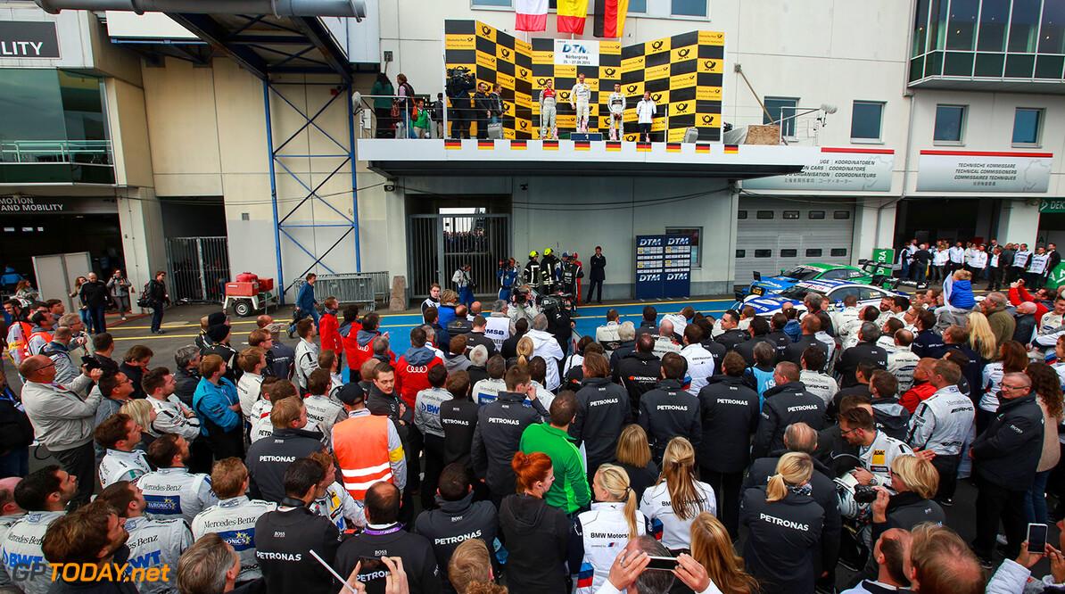 DTM Nuerburgring Motorsports: DTM race Nuerburgring, #36 Maxime Martin (BEL, BMW Team RMG, BMW M4 DTM), #48 Edoardo Mortara (ITA, Audi Sport Team Abt Sportsline, Audi RS5 DTM), #94 Pascal Wehrlein (GER, Mercedes-AMG DTM Team HWA, Mercedes-AMG C 63 DTM) Motorsports: DTM race Nuerburgring Gruppe C / Hoch Zwei    Fahrer - Driver Jubel - celebration Motorsport - motor sport Partner01 Portrait Stimmung - mood
