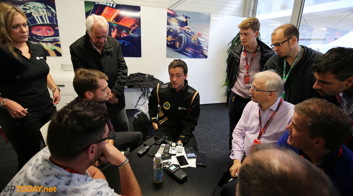 Formula One World Championship Jolyon Palmer (GBR) Lotus F1 Team Test and Reserve Driver with the media.