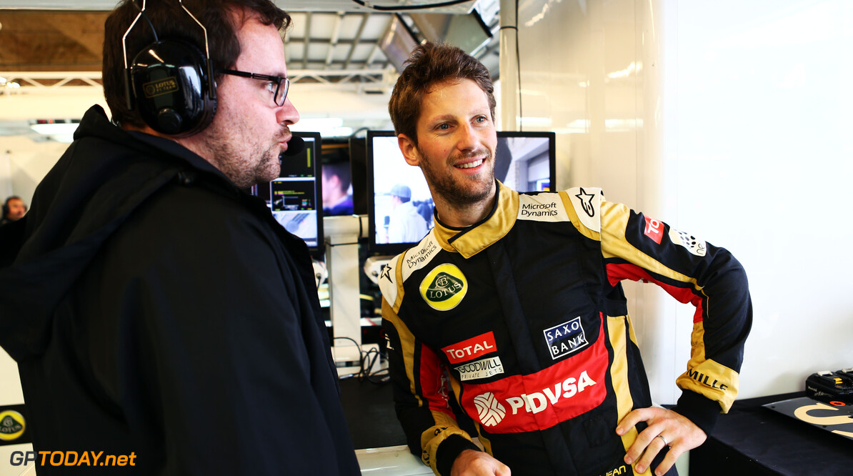 Formula One World Championship Romain Grosjean (FRA) Lotus F1 Team with Julien Simon-Chautemps (FRA) Lotus F1 Team Race Engineer.