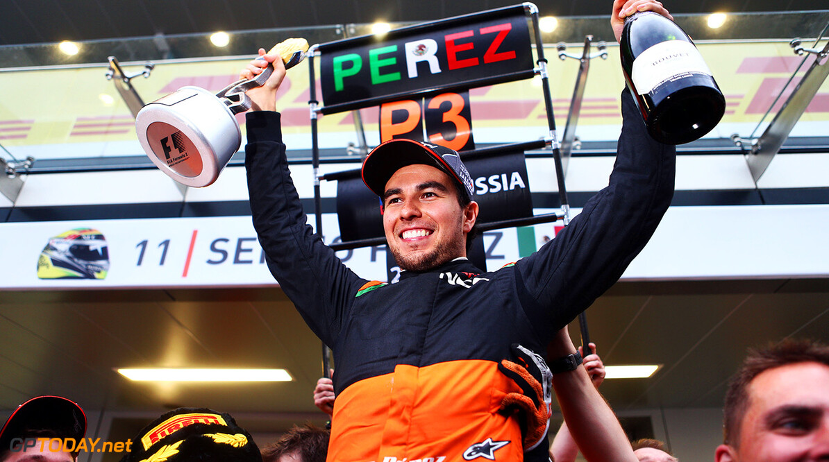 Formula One World Championship Sergio Perez (MEX) Sahara Force India F1 celebrates his third position with the team.