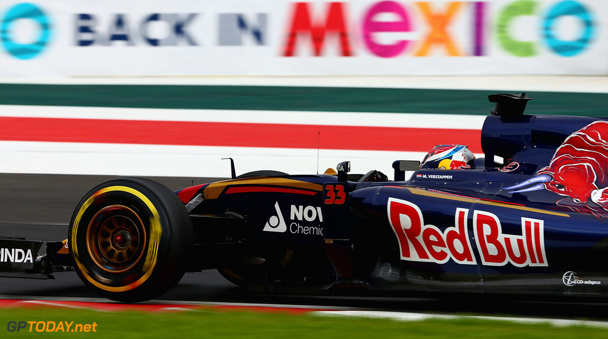 MEXICO CITY, MEXICO - OCTOBER 31:  Max Verstappen of Netherlands and Scuderia Toro Rosso drives during final practice for the Formula One Grand Prix of Mexico at Autodromo Hermanos Rodriguez on October 31, 2015 in Mexico City, Mexico.  (Photo by Clive Mason/Getty Images) // Getty Images/Red Bull Content Pool // P-20151031-00615 // Usage for editorial use only // Please go to www.redbullcontentpool.com for further information. //  F1 Grand Prix of Mexico - Qualifying Clive Mason Mexico City Mexico  P-20151031-00615