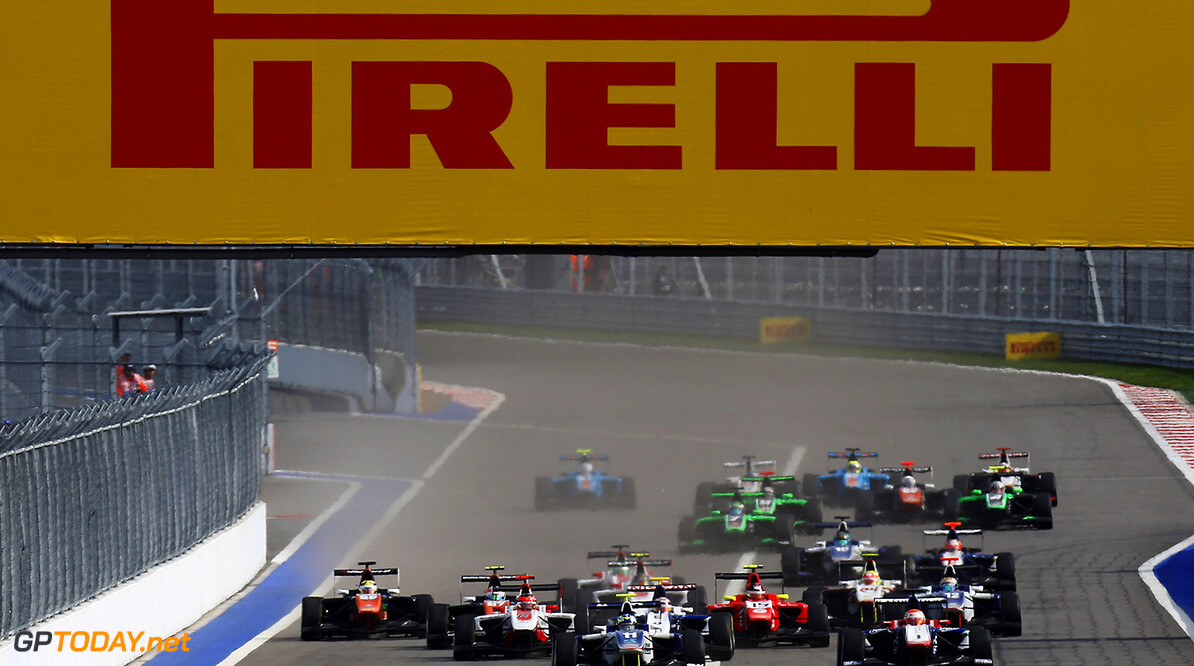 2015 GP3 Series Round 7. Sochi Autodrom, Sochi, Russia. Sunday 11 October 2015. Jimmy Eriksson (SWE, Koiranen GP) leads the field at the start of the race. Photo: Zak Mauger/GP3 Series Media Service. ref: Digital Image _L0U9131   Zak Mauger    Race Two 2 action