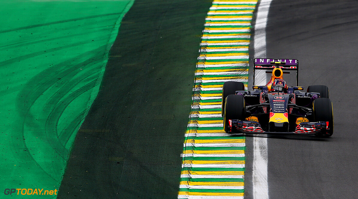 SAO PAULO, BRAZIL - NOVEMBER 13:  Daniil Kvyat of Russia and Infiniti Red Bull Racing drives during practice for the Formula One Grand Prix of Brazil at Autodromo Jose Carlos Pace on November 13, 2015 in Sao Paulo, Brazil.  (Photo by Mark Thompson/Getty Images) // Getty Images/Red Bull Content Pool // P-20151113-00562 // Usage for editorial use only // Please go to www.redbullcontentpool.com for further information. //  F1 Grand Prix of Brazil - Practice Mark Thompson Sao Paulo Brazil  P-20151113-00562