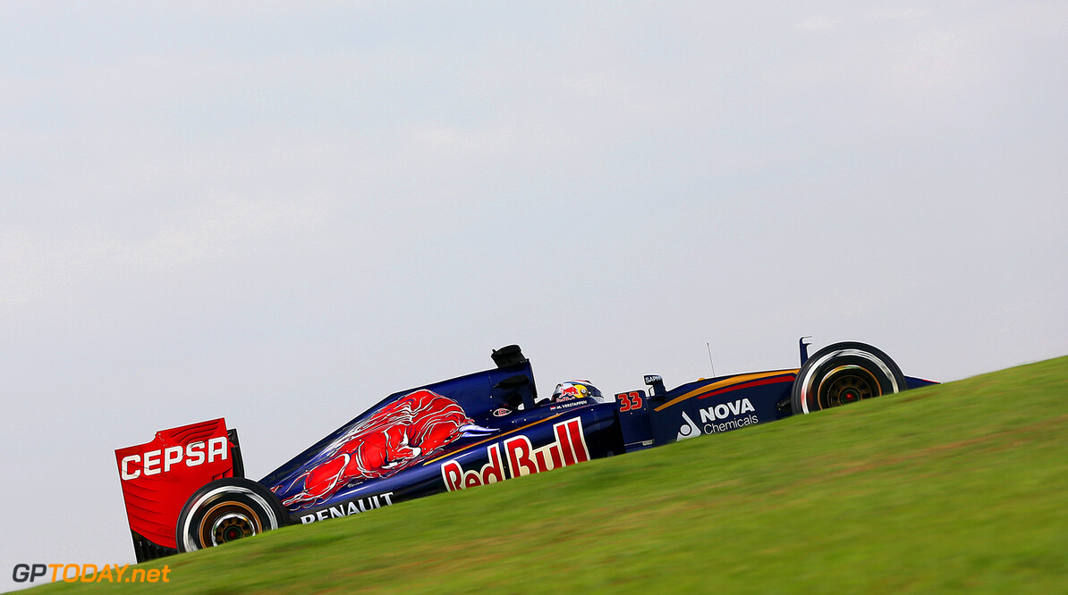 SAO PAULO, BRAZIL - NOVEMBER 13:  Max Verstappen of Netherlands and Scuderia Toro Rosso drives during practice for the Formula One Grand Prix of Brazil at Autodromo Jose Carlos Pace on November 13, 2015 in Sao Paulo, Brazil.  (Photo by Mark Thompson/Getty Images) // Getty Images/Red Bull Content Pool // P-20151113-00322 // Usage for editorial use only // Please go to www.redbullcontentpool.com for further information. //  F1 Grand Prix of Brazil - Practice Mark Thompson Sao Paulo Brazil  P-20151113-00322