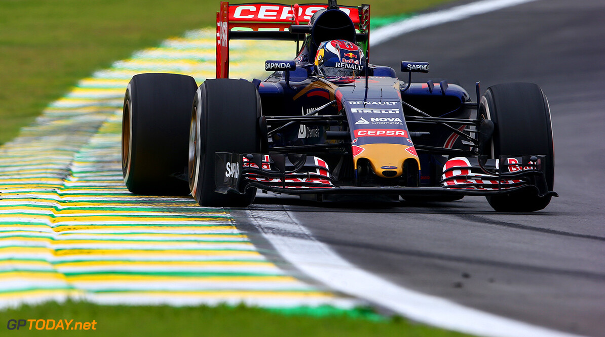 SAO PAULO, BRAZIL - NOVEMBER 13:  Max Verstappen of Netherlands and Scuderia Toro Rosso drives during practice for the Formula One Grand Prix of Brazil at Autodromo Jose Carlos Pace on November 13, 2015 in Sao Paulo, Brazil.  (Photo by Mark Thompson/Getty Images) // Getty Images/Red Bull Content Pool // P-20151113-00379 // Usage for editorial use only // Please go to www.redbullcontentpool.com for further information. //  F1 Grand Prix of Brazil - Practice Mark Thompson Sao Paulo Brazil  P-20151113-00379