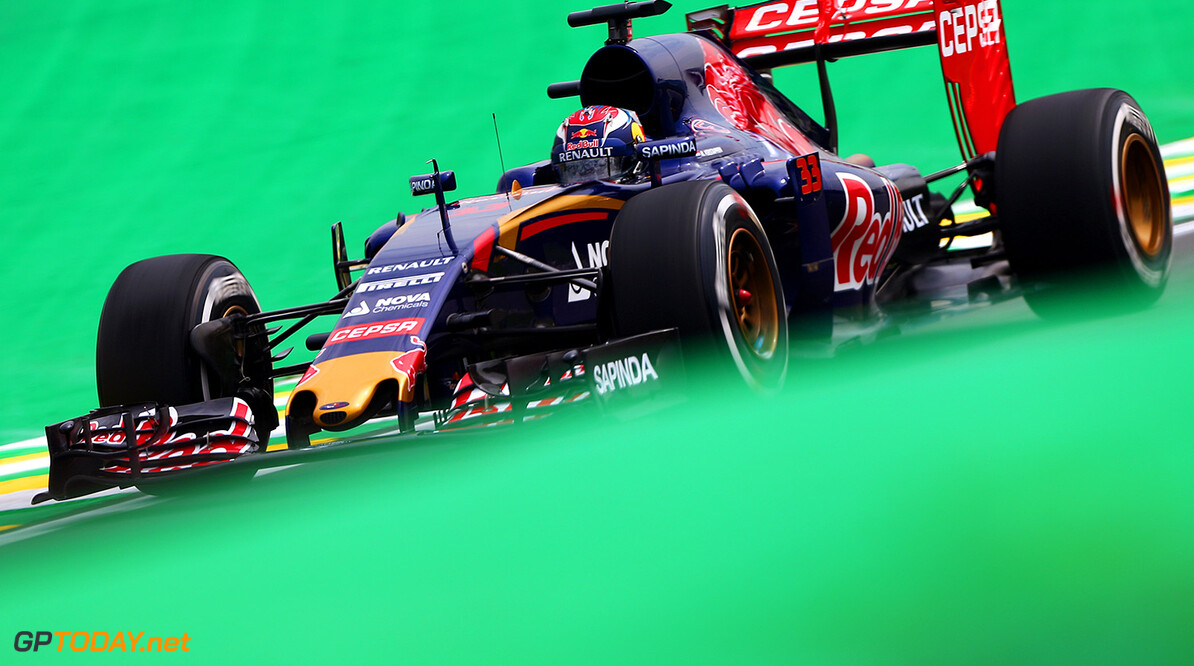 SAO PAULO, BRAZIL - NOVEMBER 13:  Max Verstappen of Netherlands and Scuderia Toro Rosso drives during practice for the Formula One Grand Prix of Brazil at Autodromo Jose Carlos Pace on November 13, 2015 in Sao Paulo, Brazil.  (Photo by Dan Istitene/Getty Images) // Getty Images/Red Bull Content Pool // P-20151113-00255 // Usage for editorial use only // Please go to www.redbullcontentpool.com for further information. //  F1 Grand Prix of Brazil - Practice Dan Istitene Sao Paulo Brazil  P-20151113-00255