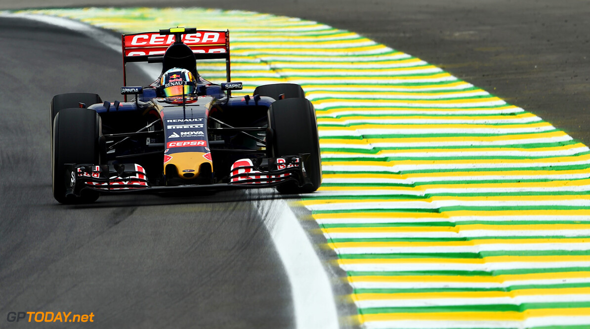 SAO PAULO, BRAZIL - NOVEMBER 13:  Carlos Sainz of Spain and Scuderia Toro Rosso drives during practice for the Formula One Grand Prix of Brazil at Autodromo Jose Carlos Pace on November 13, 2015 in Sao Paulo, Brazil.  (Photo by Lars Baron/Getty Images) // Getty Images/Red Bull Content Pool // P-20151113-00259 // Usage for editorial use only // Please go to www.redbullcontentpool.com for further information. //  F1 Grand Prix of Brazil - Practice Lars Baron Sao Paulo Brazil  P-20151113-00259