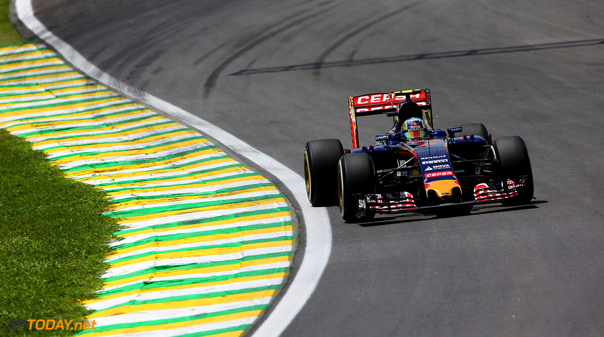 SAO PAULO, BRAZIL - NOVEMBER 14:  Carlos Sainz of Spain and Scuderia Toro Rosso drives during final practice for the Formula One Grand Prix of Brazil at Autodromo Jose Carlos Pace on November 14, 2015 in Sao Paulo, Brazil.  (Photo by Mark Thompson/Getty Images) // Getty Images/Red Bull Content Pool // P-20151114-00202 // Usage for editorial use only // Please go to www.redbullcontentpool.com for further information. //  F1 Grand Prix of Brazil - Qualifying Mark Thompson Sao Paulo Brazil  P-20151114-00202