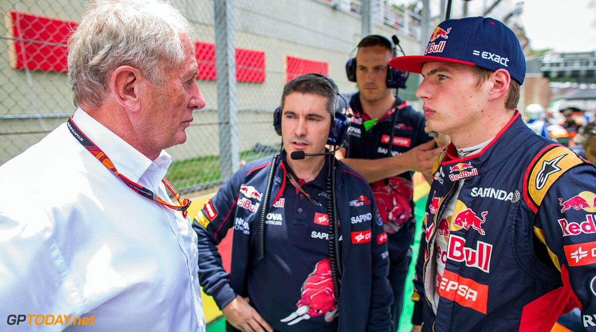 SAO PAULO, BRAZIL - NOVEMBER 15:  Helmut Marko of Austria with Max Verstappen of Scuderia Toro Rosso and The Netherlands during the Formula One Grand Prix of Brazil at Autodromo Jose Carlos Pace on November 15, 2015 in Sao Paulo, Brazil.  (Photo by Peter Fox/Getty Images) // Getty Images/Red Bull Content Pool // P-20151115-00564 // Usage for editorial use only // Please go to www.redbullcontentpool.com for further information. //  F1 Grand Prix of Brazil Peter Fox Sao Paulo Brazil  P-20151115-00564