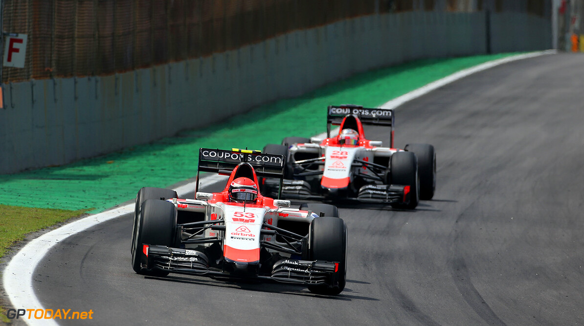 Formula One World Championship Alexander Rossi (USA) Manor Marussia F1 Team leads team mate Will Stevens (GBR) Manor Marussia F1 Team.