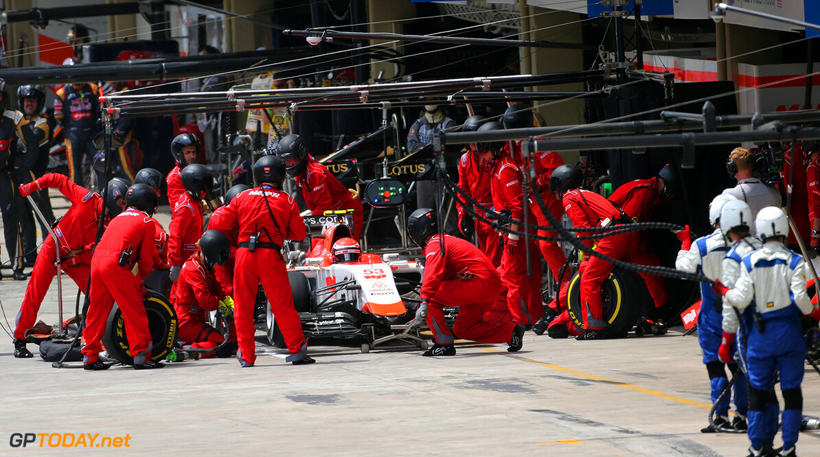 Formula One World Championship Alexander Rossi (USA) Manor Marussia F1 Team makes a pit stop.