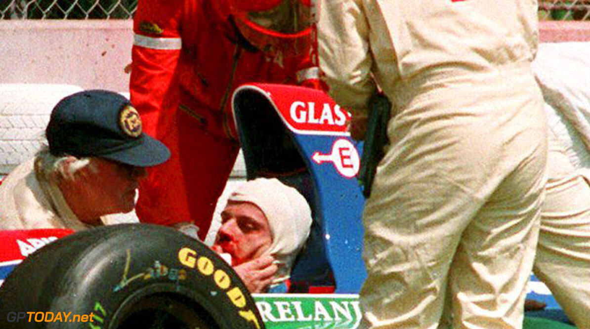 SAWH990617645210 IMOLA, BRAZIL:  Brazilian Formula One driver Rubens Barrichello, second in the world championship ranking after two Grand Prix, is attended by doctors after crashing during first practice on the Imola, Italy track, 29 April 1994.  Barrichello was practicing for the San Marino Grand Prix scheduled for 01 May. (Photo credit should read CHRISTOPHE SIMON/AFP/Getty Images) Brazilian Formula One driver Rubens Barrichello, s CHRISTOPHE SIMON Imola Brazil  IMO05C; ITALY-FORMULA ONE/BARRICH