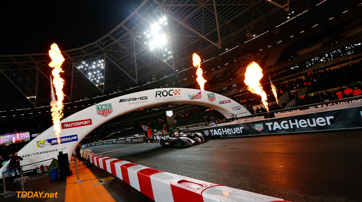 2015 Race of Champions, Olympic Park, London Sebastian Vettel (GER) crosses the line in the Radical SR3 RSX to win the first round of the final      action
