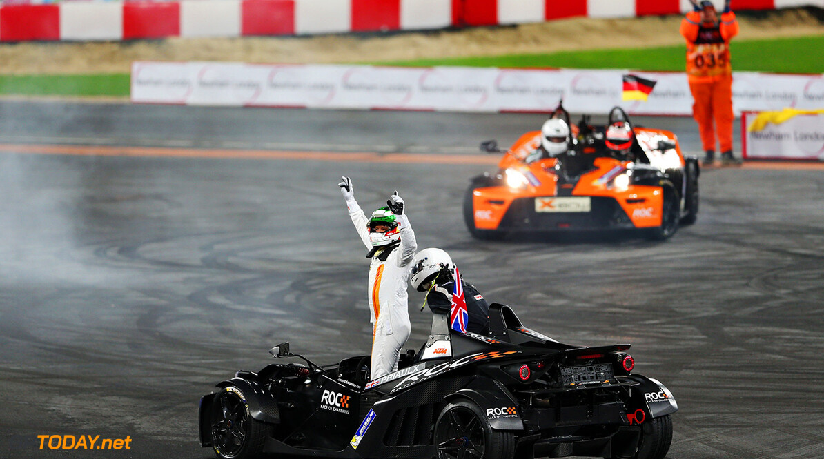 2015 ROC Nations Cup, Olympic Park, London Andy Priaulx (GBR) celebrates his win in the KTM X-Bow      action
