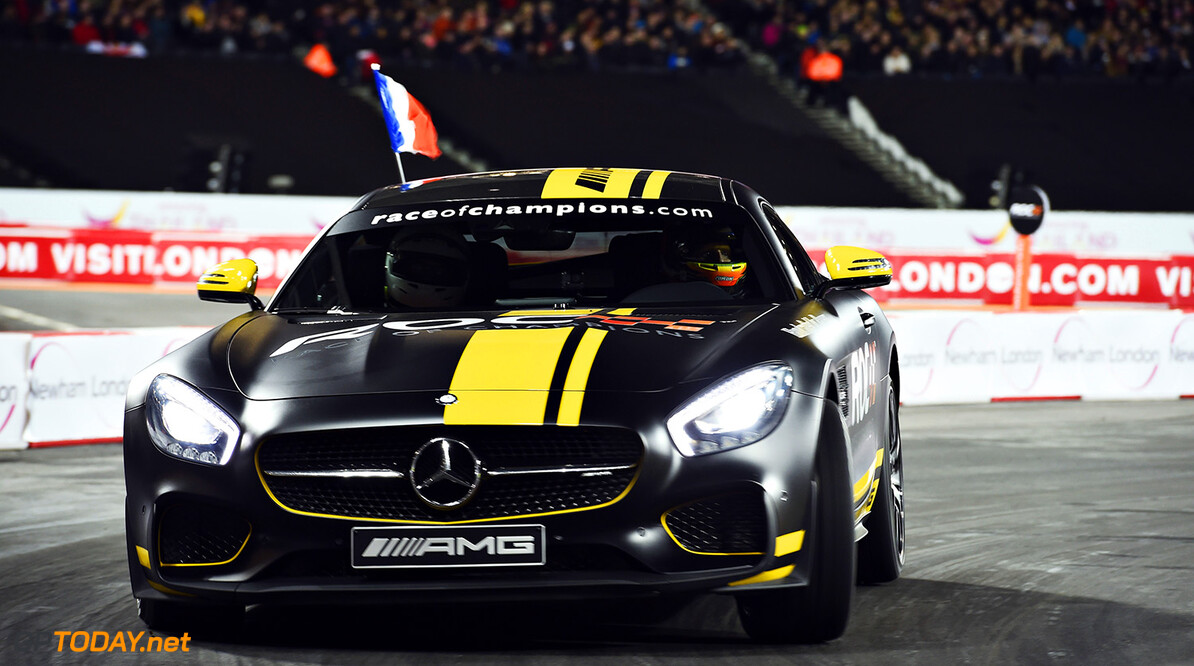2015 ROC Nations Cup, Olympic Park, London Romain Grosjean (FRA) in the Mercedes-AMG GT S      action