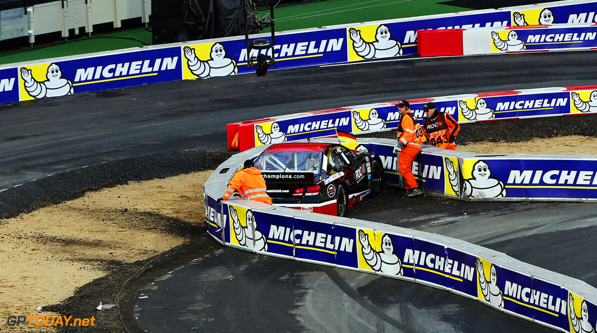 2015 Race of Champions, Olympic Park, London Pascal Wehrlein (GER) crashes in the Euro Nascar      action