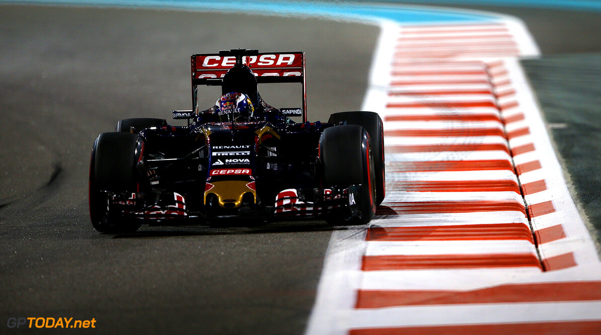 ABU DHABI, UNITED ARAB EMIRATES - NOVEMBER 27:  Max Verstappen of Netherlands and Scuderia Toro Rosso drives during practice for the Abu Dhabi Formula One Grand Prix at Yas Marina Circuit on November 27, 2015 in Abu Dhabi, United Arab Emirates.  (Photo by Mark Thompson/Getty Images) // Getty Images/Red Bull Content Pool // P-20151127-00943 // Usage for editorial use only // Please go to www.redbullcontentpool.com for further information. //  F1 Grand Prix of Abu Dhabi - Practice Mark Thompson Abu Dhabi United Arab Emirates  P-20151127-00943