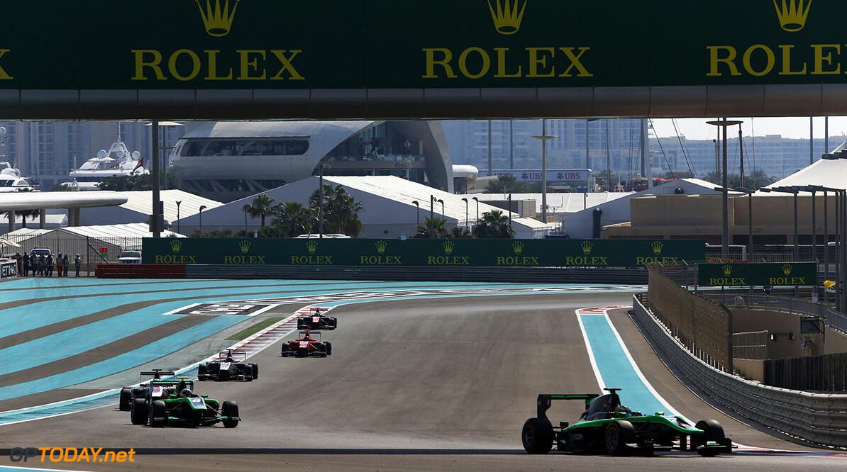 2015 GP3 Series Round 9. Yas Marina Circuit, Abu Dhabi, United Arab Emirates. Saturday 28 November 2015. Seb Morris (GBR, Status Grand Prix). Photo: Zak Mauger/GP3 Series Media Service. ref: Digital Image _L0U5798   Zak Mauger    Race One 1 race action