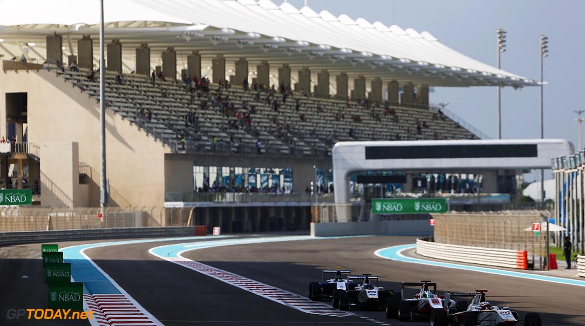 2015 GP3 Series Round 9. Yas Marina Circuit, Abu Dhabi, United Arab Emirates. Sunday 29 November 2015. Konstantin Tereshchenko (RUS, Campos Racing) leadsAlfonso Celis Jr (MEX, ART Grand Prix). Photo: Zak Mauger/GP3 Series Media Service. ref: Digital Image _L0U7715   Zak Mauger    Race Two 2 action
