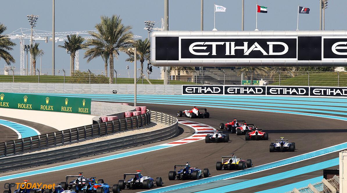2015 GP3 Series Round 9 Yas Marina Circuit, Abu Dhabi, UAE. Saturday 28 November 2015. Esteban Ocon (FRA, ART Grand Prix), leads Kevin Ceccon (ITA, Arden International) & Marvin Kirchhofer (GER, ART Grand Prix) at the start Photo: Sam Bloxham/GP3 Series Media Service. ref: Digital Image _G7C7947  Sam Bloxham    Race One 1 action
