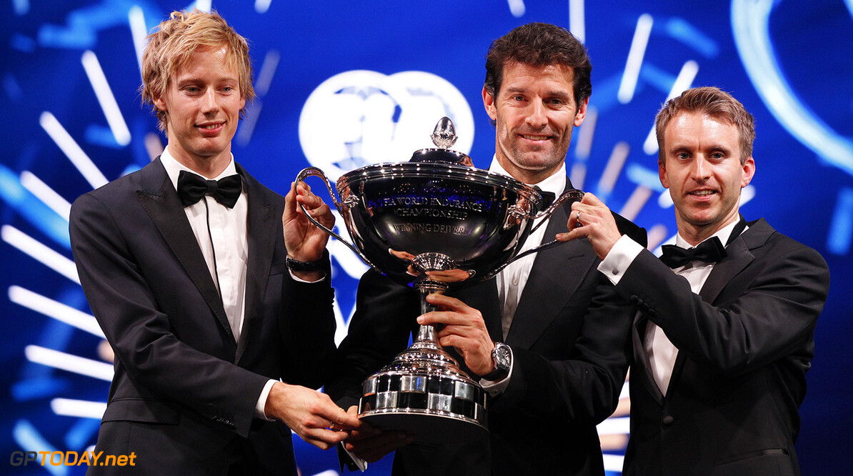 Brendon Hartley, Mark Webber and Timo Bernhard, portrait during the FIA Prize Giving 2015 on December 4th 2015, at Paris, France. Photo Florent Gooden / DPPI AUTO - FIA PRIZE GIVING 2015 Florent Gooden  Paris France  2015 decembre december ceremonie ceremony Remise des prix awards celebration federation internationale de l'automobile international automobil federation auto