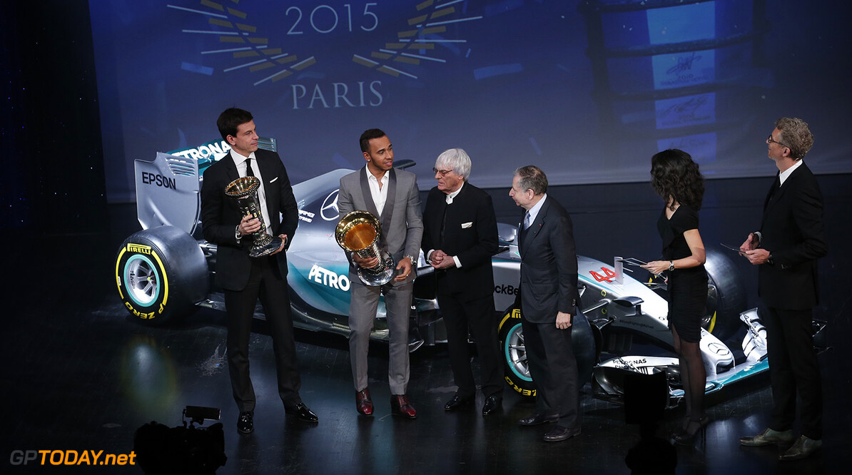 Lewis Hamilton and Toto Wolff with FIA president Jean Todt and Bernie Ecclestone, portrait during the FIA Prize Giving 2015 on December 4th 2015, at Paris, France. Photo Jean Michel Le Meur / DPPI AUTO - FIA PRIZE GIVING 2015 Jean Michel Le Meur  Paris France  2015 decembre december ceremonie ceremony Remise des prix awards celebration federation internationale de l'automobile international automobil federation auto