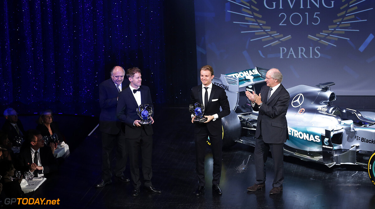 Sebastian Vettel and Nico Rosberg, portrait during the FIA Prize Giving 2015 on December 4th 2015, at Paris, France. Photo Jean Michel Le Meur / DPPI AUTO - FIA PRIZE GIVING 2015 Jean Michel Le Meur  Paris France  2015 decembre december ceremonie ceremony Remise des prix awards celebration federation internationale de l'automobile international automobil federation auto