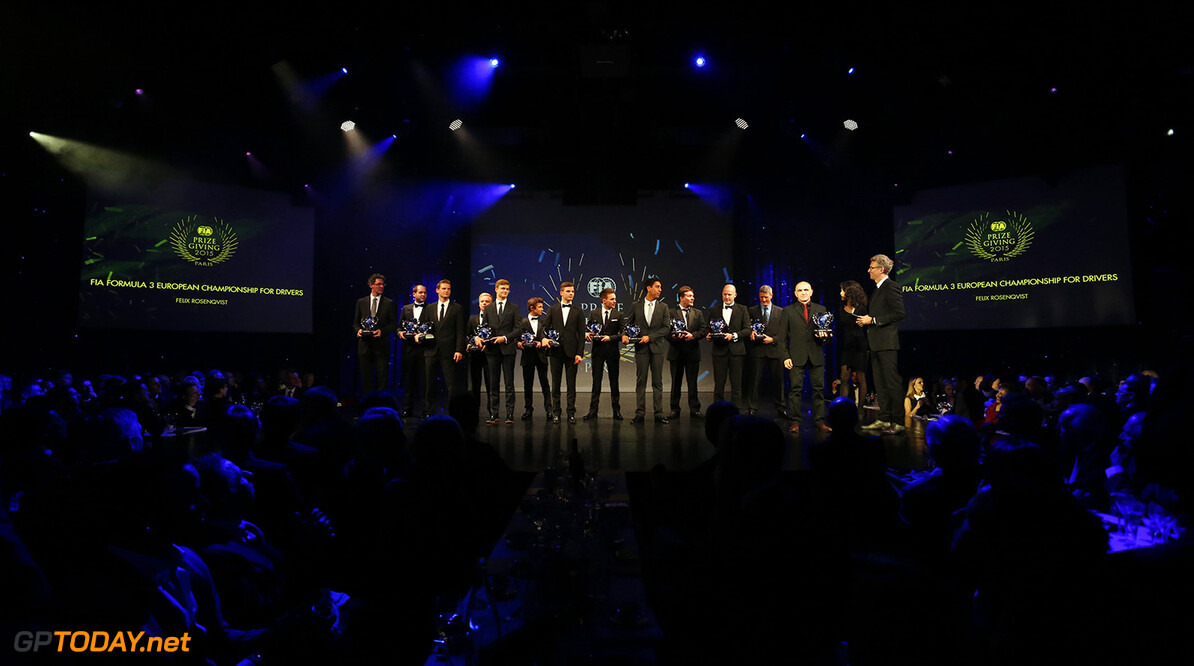 F3 and F4 drivers during the FIA Prize Giving 2015 on December 4th 2015, at Paris, France. Photo Florent Gooden / DPPI AUTO - FIA PRIZE GIVING 2015 Florent Gooden  Paris France  2015 decembre december ceremonie ceremony Remise des prix awards celebration federation internationale de l'automobile international automobil federation auto
