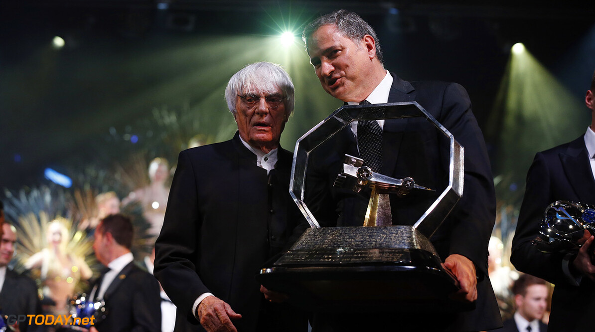 FOM trophies with Bernie Ecclestone, portrait during the FIA Prize Giving 2015 on December 4th 2015, at Paris, France. Photo Jean Michel Le Meur / DPPI AUTO - FIA PRIZE GIVING 2015 Jean Michel Le Meur  Paris France  2015 decembre december ceremonie ceremony Remise des prix awards celebration federation internationale de l'automobile international automobil federation auto